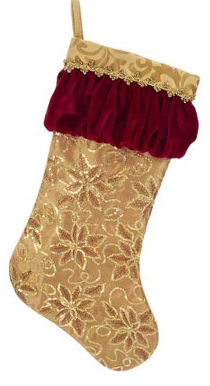 20 gold embroidered silk sequin stocking - Gold Christmas Stocking