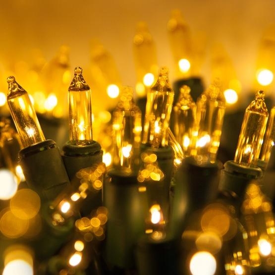 50 yellow mini christmas lights 6 spacing premium green wire