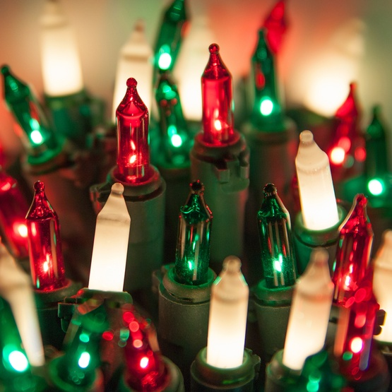 Christmas Lights 50 Red Green White Frost Mini