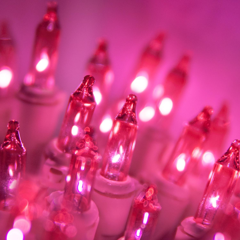 Christmas Lights - 50 Bubble Gum Mini Christmas Lights, 6u0026quot; Spacing, Premium, Bubble Gum Wire