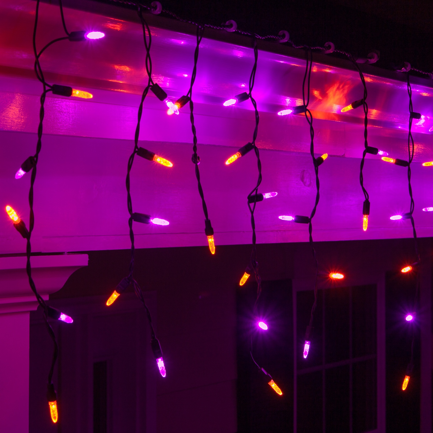 LED Christmas Lights - 70 M5 Purple, Orange Halloween LED Icicle Lights Black Wire