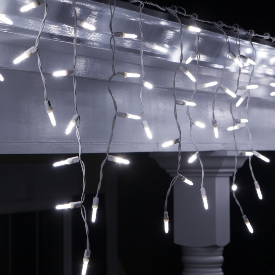 LED Christmas Lights - 70 LED Icicle Lights, Cool White M5 Bulbs