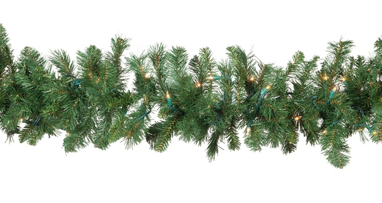 Cumberland Fir Prelit Christmas Garland, Clear Lights - Lighted Christmas Garland - Cumberland Fir Prelit Christmas Garland
