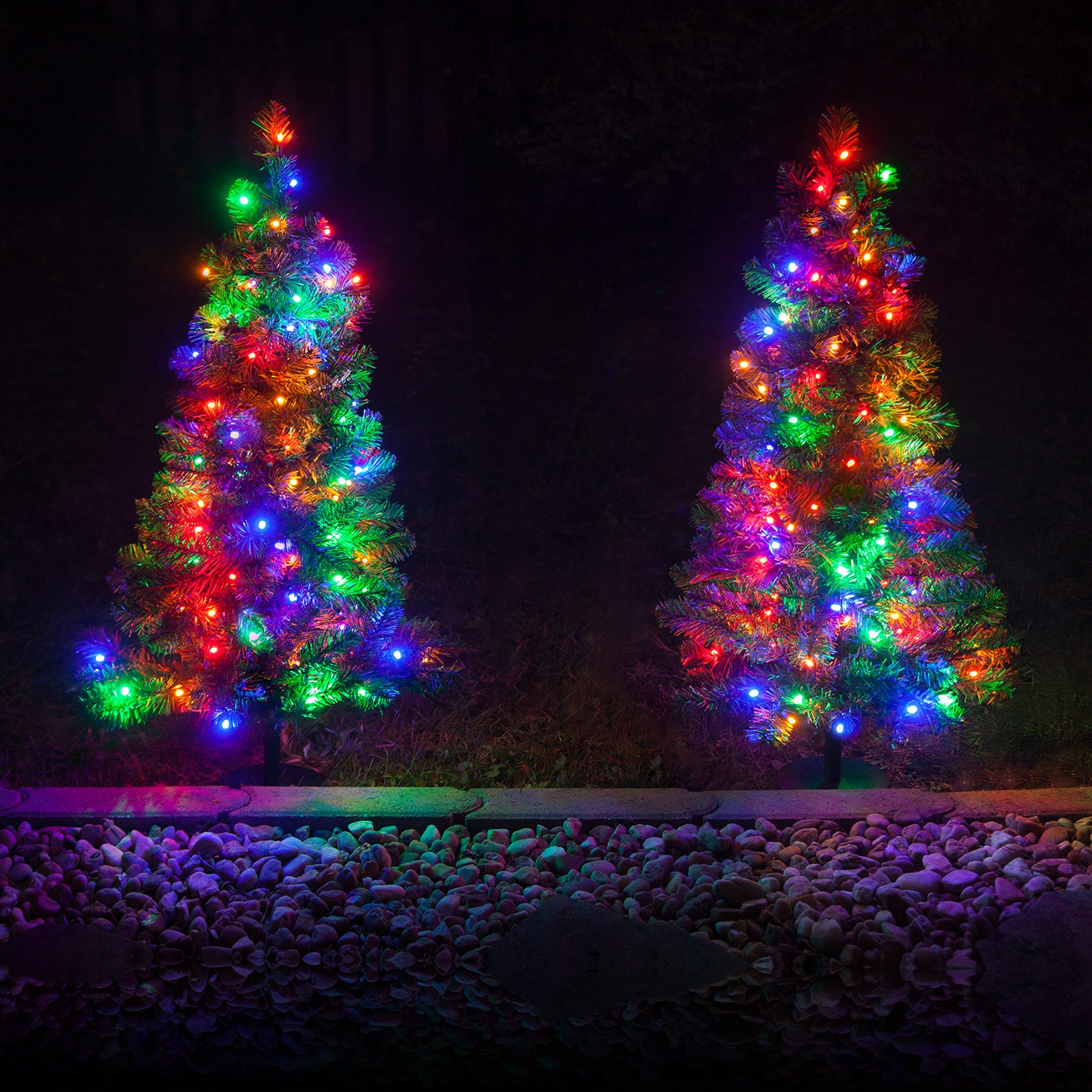 Pre Lit Christmas Trees Multi Color Led Lights Part - 29: 3u0027 Walkway Pre-Lit Winchester Fir Tree, 100 Multicolored LED Lamps