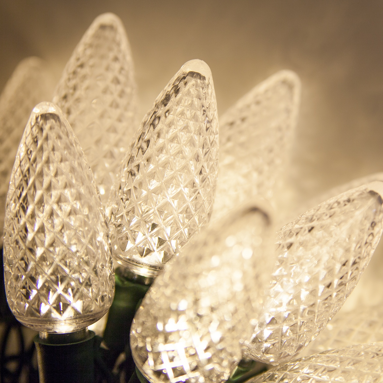 LED Christmas Lights - 25 C9 Warm White LED Christmas Lights, 8 ...
