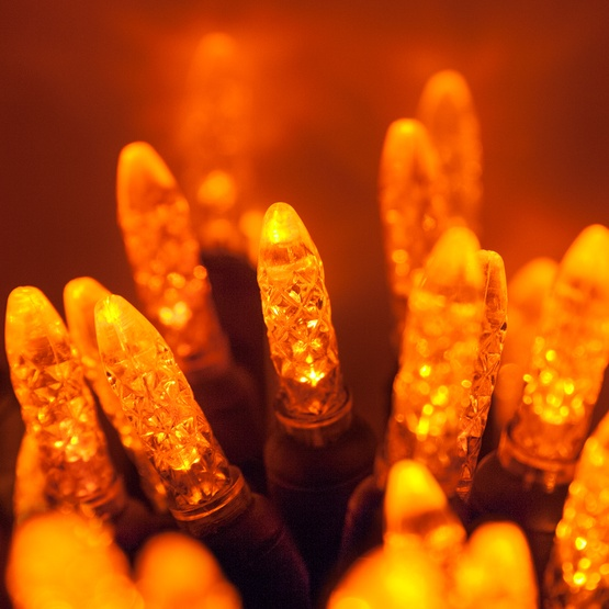 "70 M5 Amber LED Christmas Lights, 4"" Spacing"
