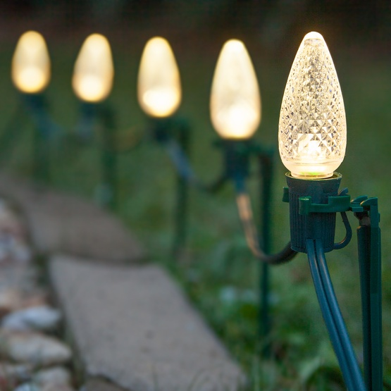 c9 warm white christmas led pathway lights