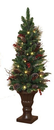 4 frosted battery operated prelit potted tree with led clear lights