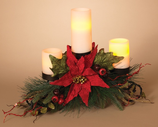 metal triple candle holder centerpiece w pointsettia and berries - Christmas Candle Holders Decorations