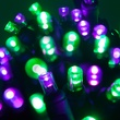 "70 5mm Purple, Green LED Halloween Lights, 4"" Spacing, Black Wire"