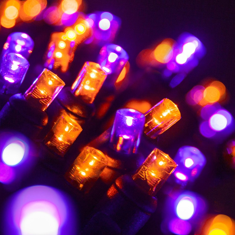 Wide Angle 5MM LED Lights - 70 5mm Purple, Orange LED Halloween Lights, 4u0026quot; Spacing, Black Wire