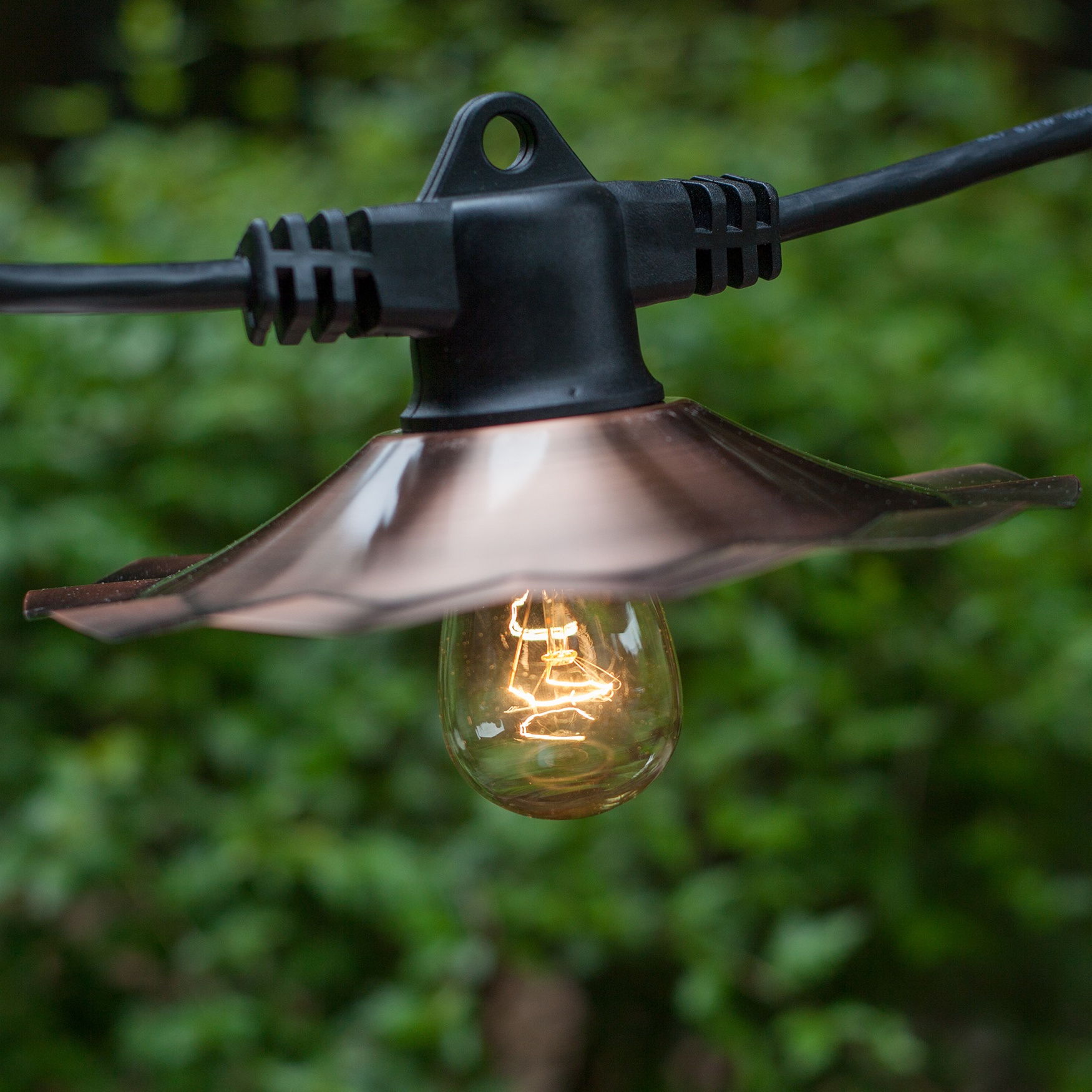 48u0027 Patio String With 15 S14 Clear Outdoor Patio Lights, Copper Shades