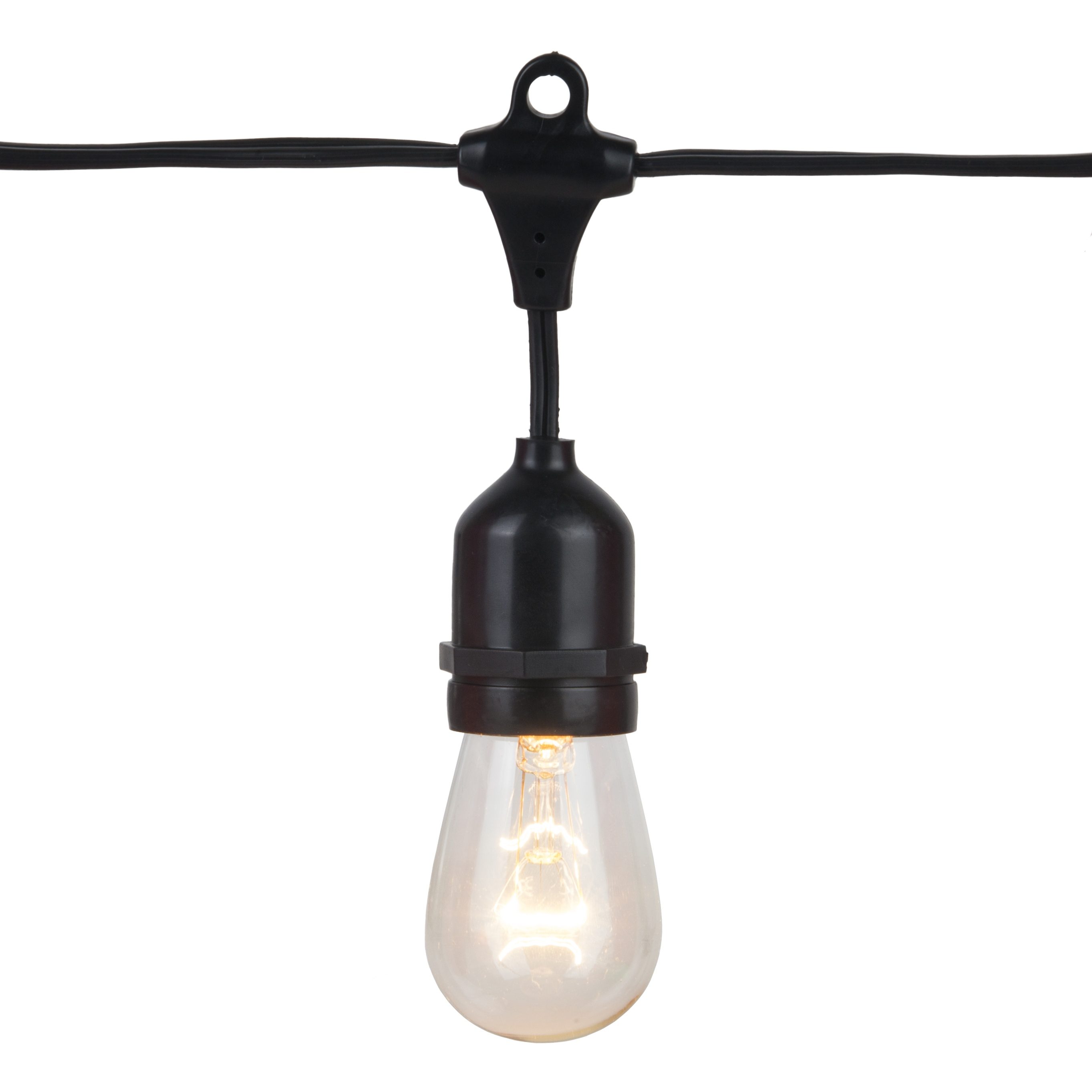 54u0027 Commercial Patio String With 24 Suspended S14 Clear Outdoor Patio Lights