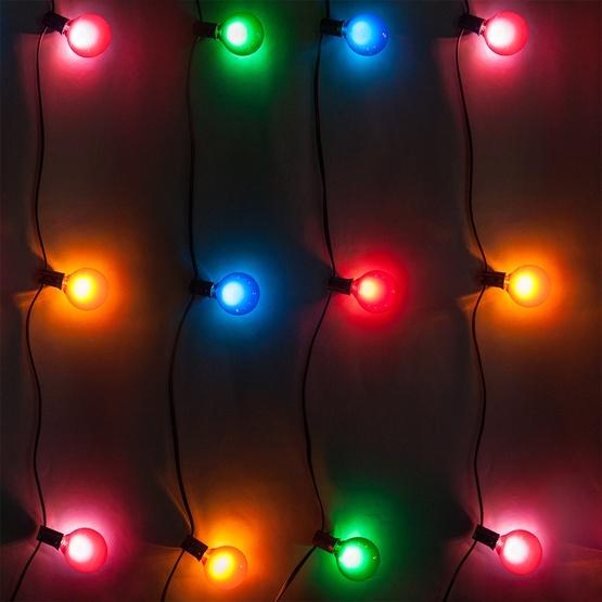 50' Outdoor Patio String with 33 G50 Multicolor Party Lights - Patio Lights - Multicolor Satin Party Lights, 33 G50 E12 Bulbs Black