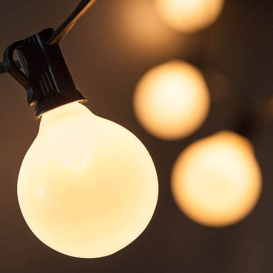 Patio Lights - Pearl White Satin Lights, 15 G50 E12 Bulbs Black Wire