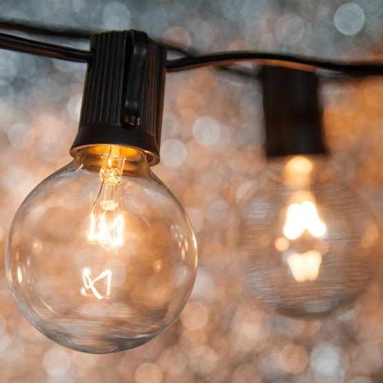 String Globe Lights Mesmerizing Patio Lights Clear Globe String Lights 60 G60 E60 Bulbs Black Wire