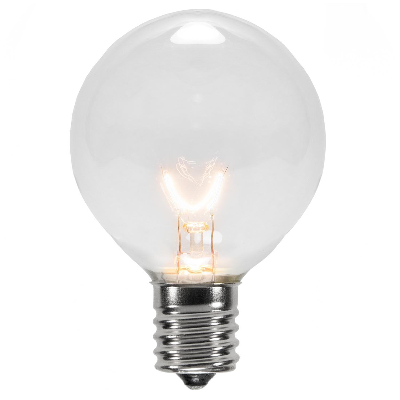 Christmas Lights G50 Transparent Clear 7 Watt Replacement Bulbs