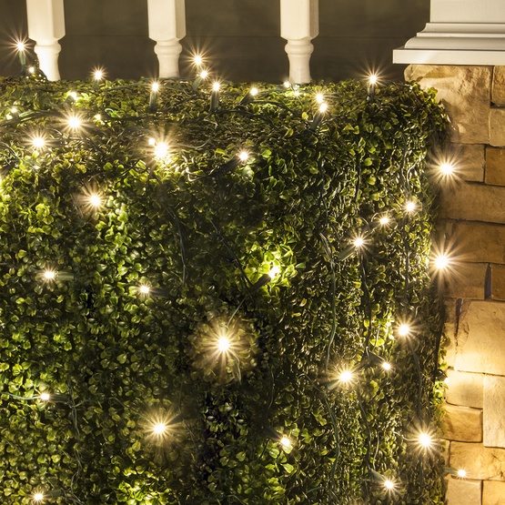LED Net Lights - 5MM 4'x6' Twinkle Warm White LED Net Lights, Green Wire