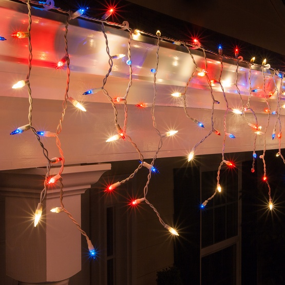 150 Red, White and Blue Icicle Lights - White Wire - Christmas Icicle Light - 150 Red, White And Blue Icicle Lights