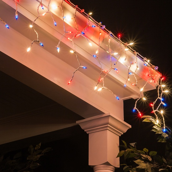 Christmas Icicle Light - 150 Red, White and Blue Icicle Lights ...