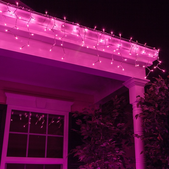 Christmas Icicle Light 100 Purple Icicle Lights White