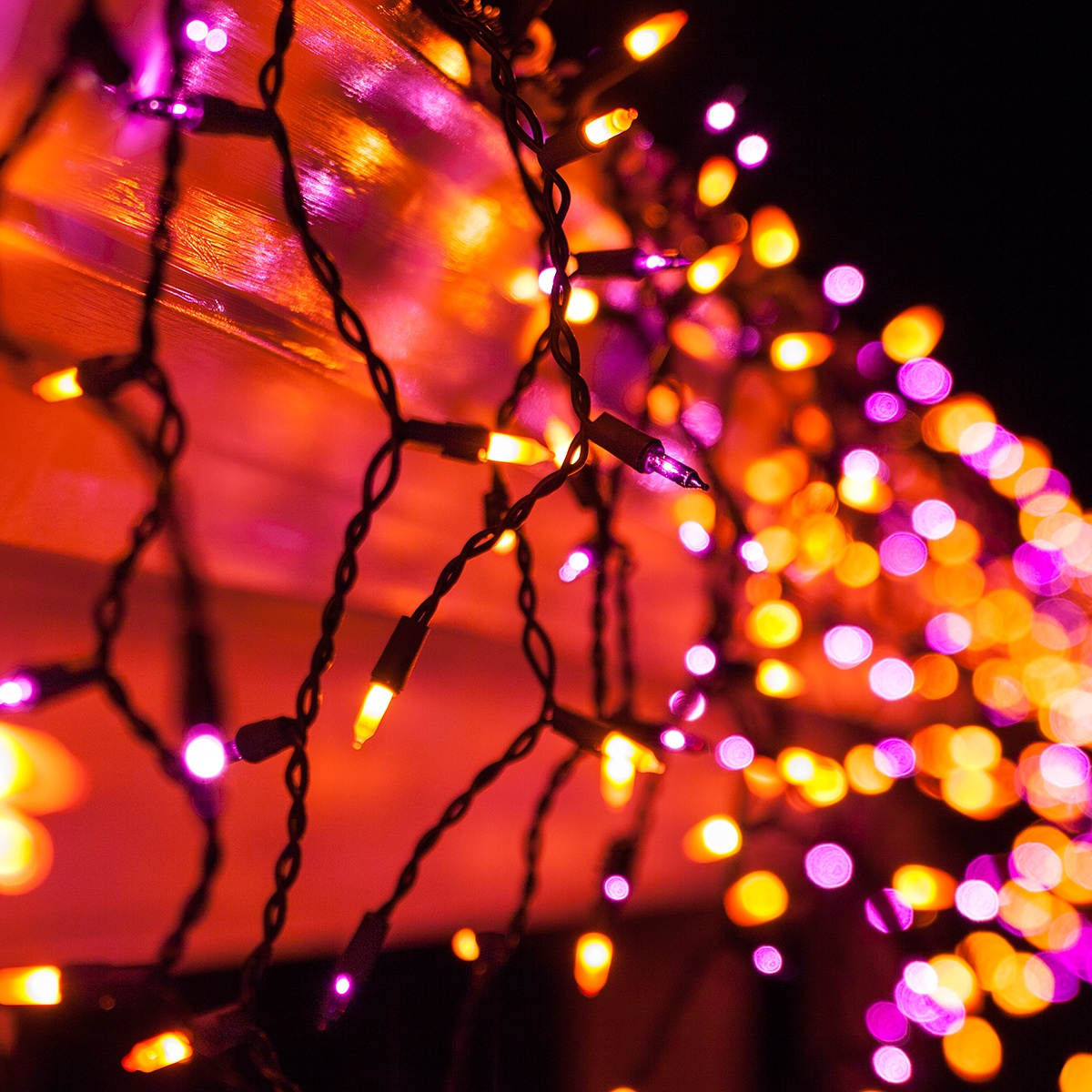 halloween lighting. 150 purple orange halloween icicle lights black wire lighting