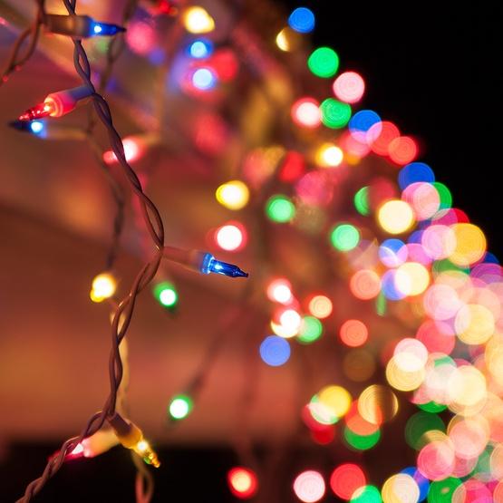 100 mini multicolor icicle light set white wire