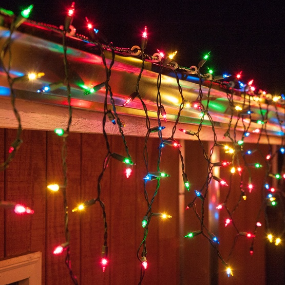150 Multi Red Green Pink Blue Yellow Icicle Lights
