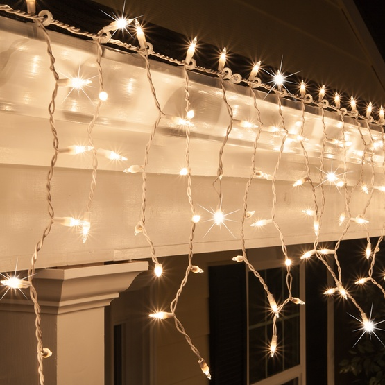 Christmas Icicle Light - 150 Clear Twinkle Icicle Lights - White Wire