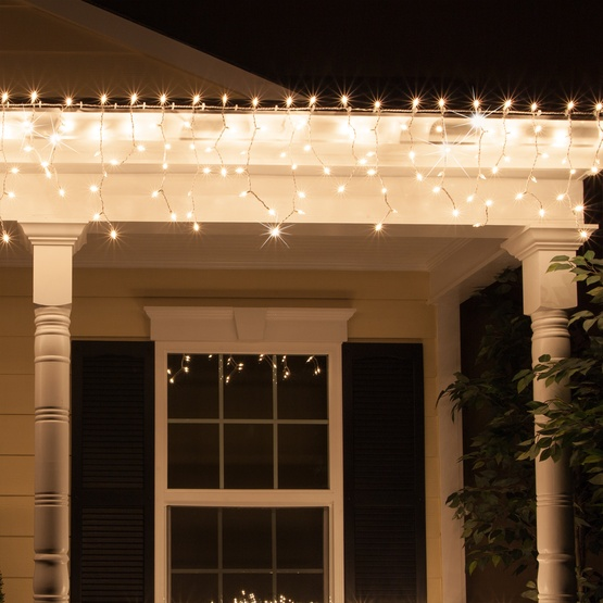 150 Clear Twinkle Icicle Lights - White Wire - Christmas Icicle Light - 150 Clear Twinkle Icicle Lights - White Wire