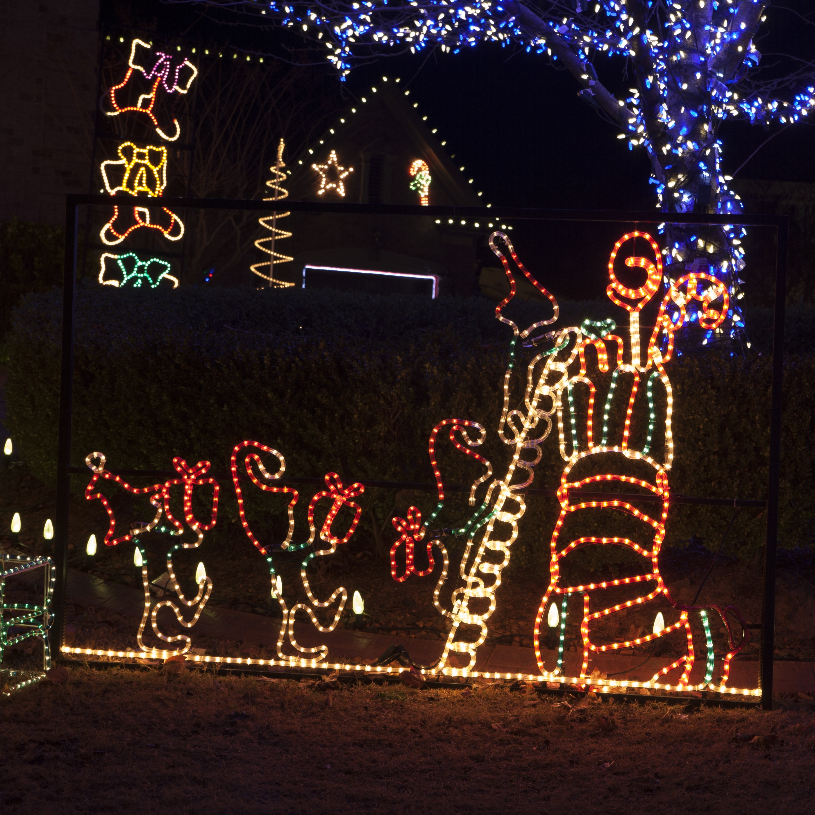 Awesome Animated Elf And Stocking Outdoor Christmas Decoration With Rope Lights Photo Gallery