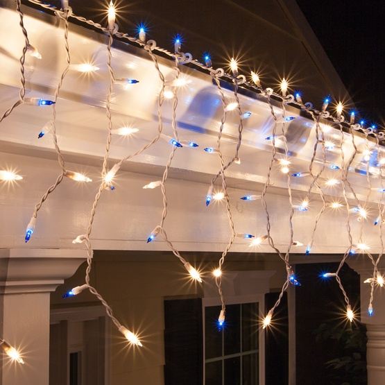150 clearblue icicle lights white wire - White Icicle Christmas Lights