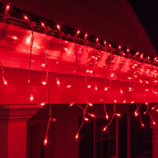 Christmas Icicle Light - 150 Red Icicle Lights - White Wire
