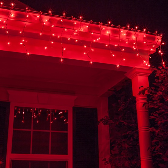 Christmas Icicle Light 150 Red Icicle Lights White Wire