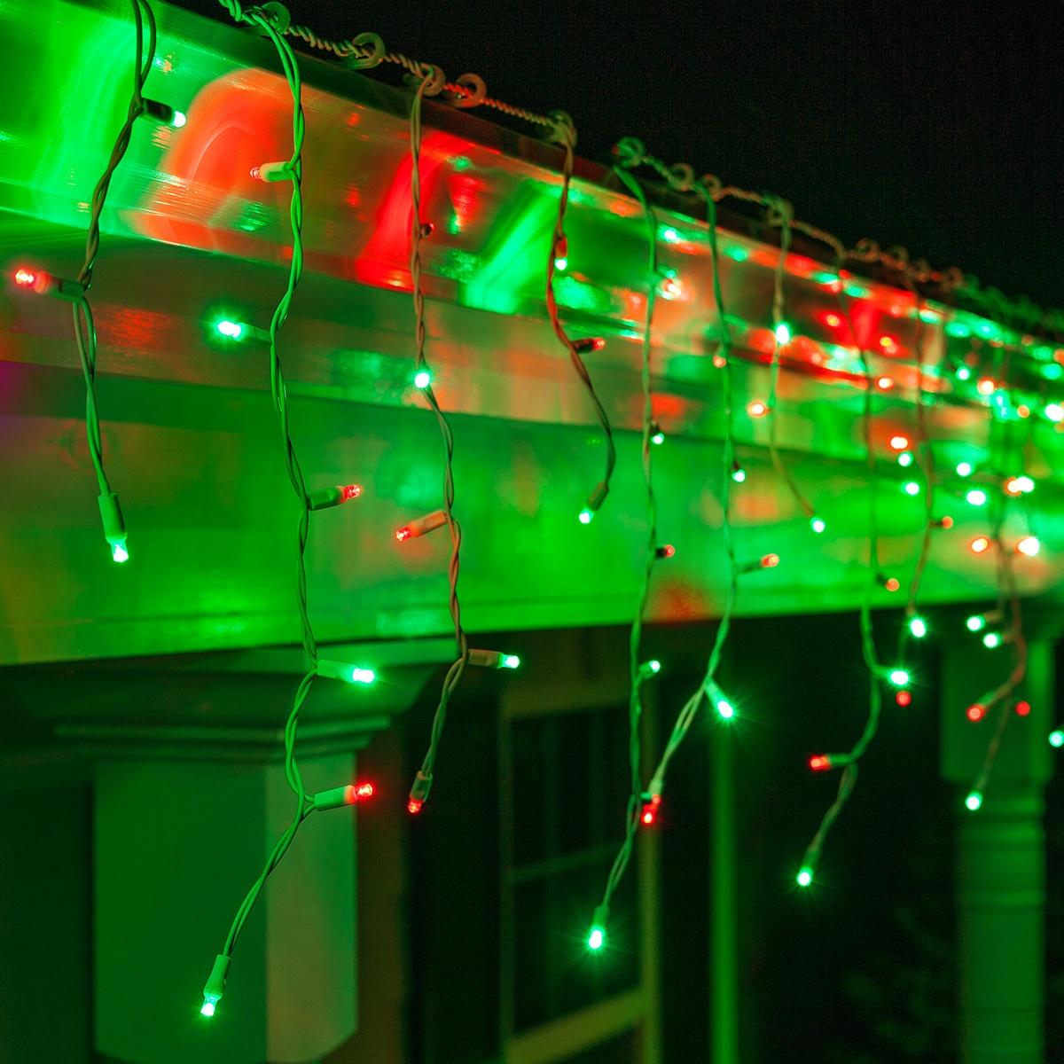 LED Christmas Lights - 70 5mm Red, Green LED Icicle Lights