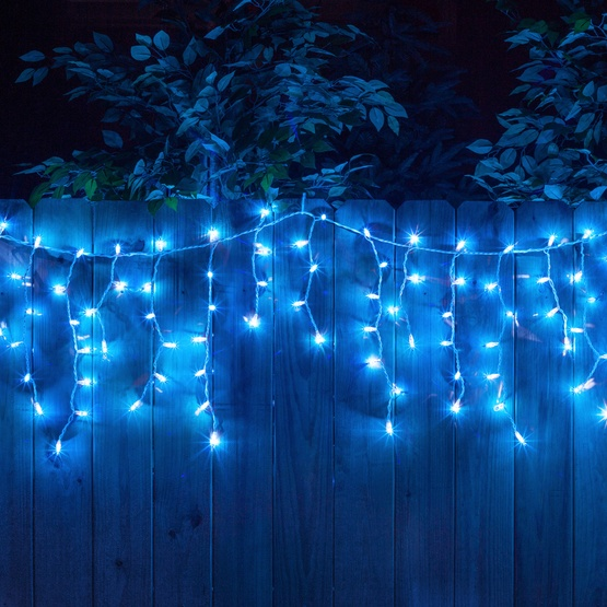 150 Blue Icicle Lights - White Wire - Christmas Icicle Light - 150 Blue Icicle Lights - White Wire