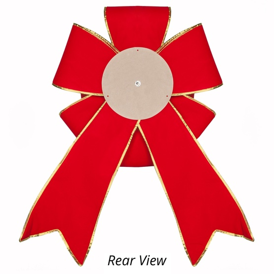 Red With Gold Trim Blooming Puff Velvet Christmas Bow