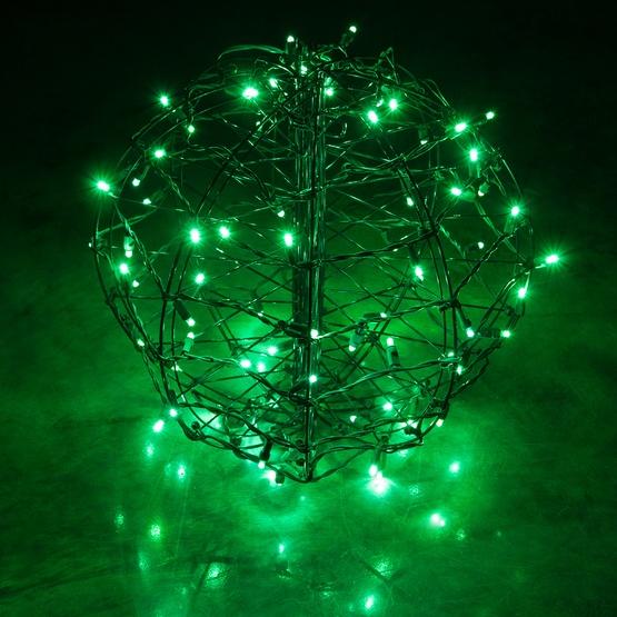 green led christmas light ball fold flat brown frame - Ball Christmas Lights