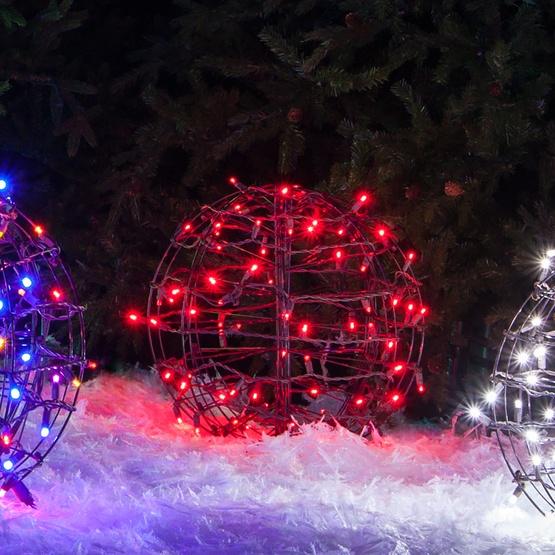 red led christmas light ball fold flat brown frame - Christmas Light Spheres