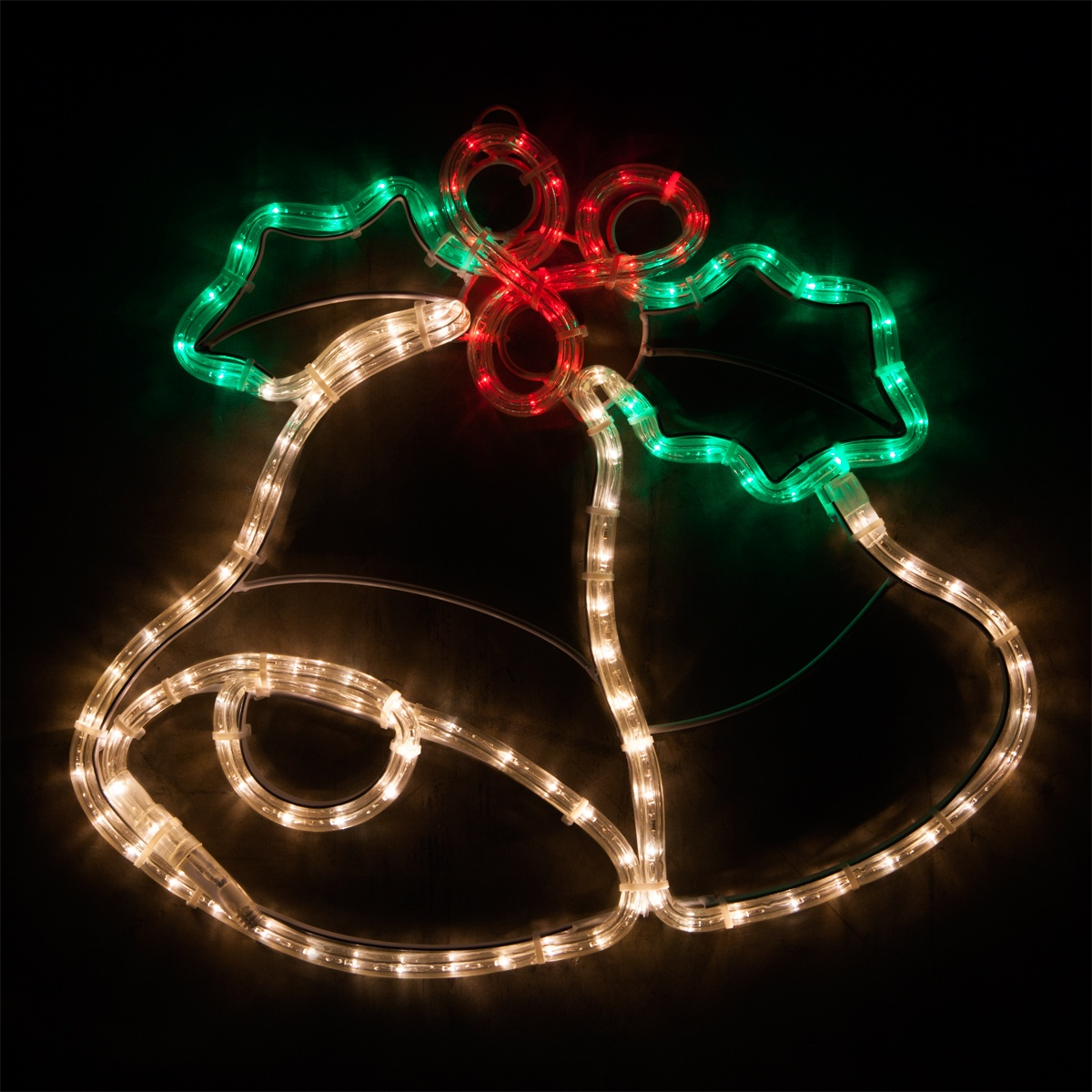 Outdoor Decoration 20 Led Christmas Bells With Holly