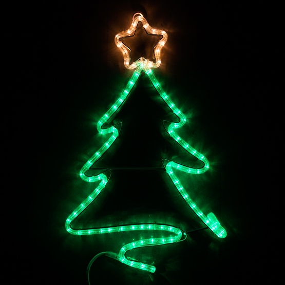Outdoor Christmas Tree With Lights.24 Led Green Christmas Tree With Star