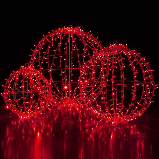 Red led commercial mega sphere christmas light ball fold
