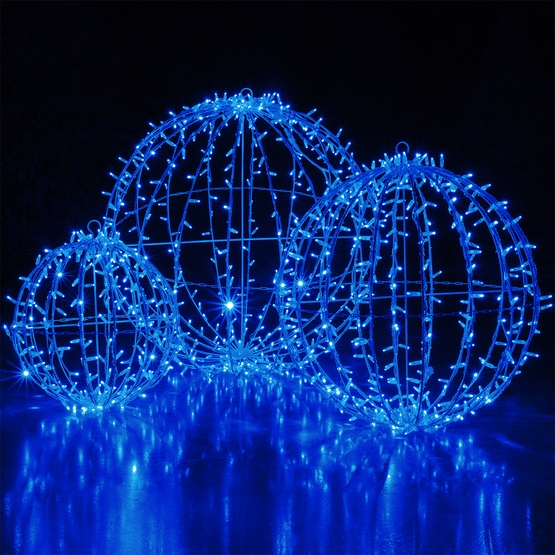 blue led commercial mega sphere christmas light ball fold flat
