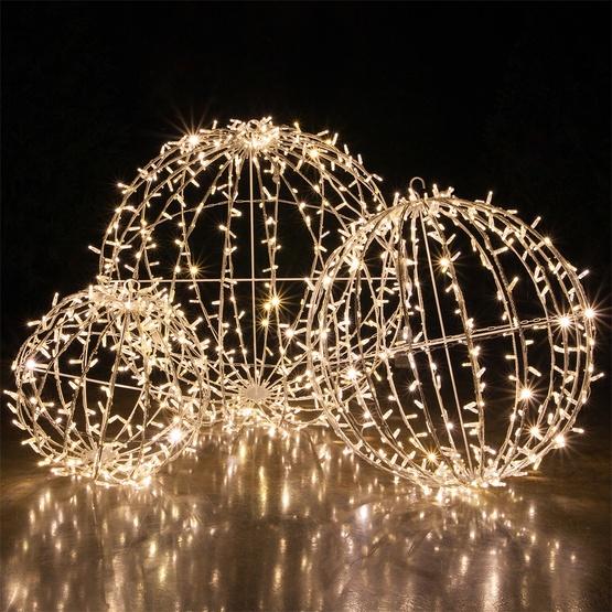 warm white led commercial mega sphere christmas light ball fold flat - Christmas Light Spheres