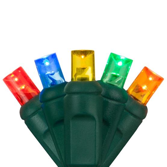 "50 5mm Multi Color LED Christmas Lights, 4"" Spacing"
