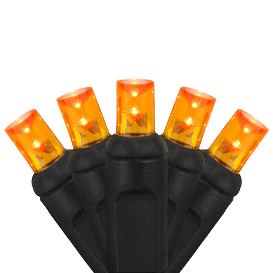 """70 5mm Amber LED Halloween Lights, 4"""" Spacing, Black Wire"""