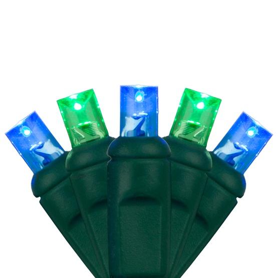 "70 5mm Blue, Green LED Christmas Lights, 4"" Spacing"