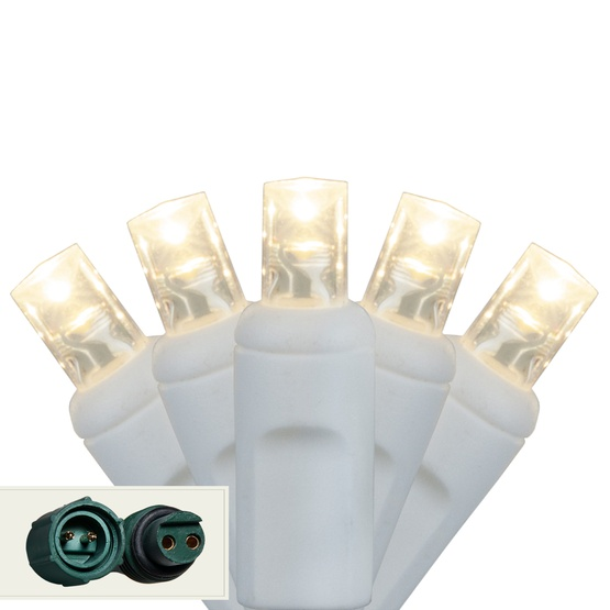"""Commercial 25 5mm Warm White LED Christmas Lights, 4"""" Spacing, White Wire"""