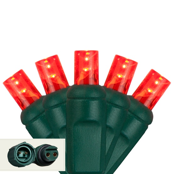 "Commercial 25 5mm Red LED Christmas Lights, 4"" Spacing"