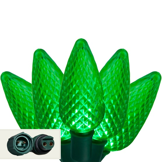 "Commercial 25 Green C9 LED Christmas Lights, 12"" Spacing"